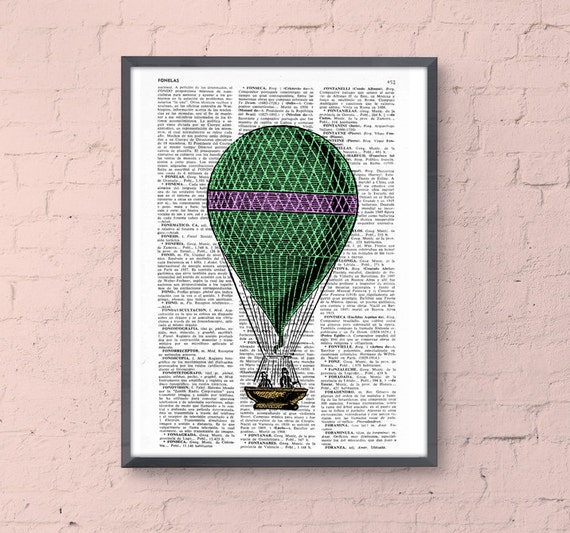 Christmas gifts for her Green and pink  Hot Air Balloon Print, Upcycled Dictionary Print, Balloon Illustration wall art wall decor TVH149