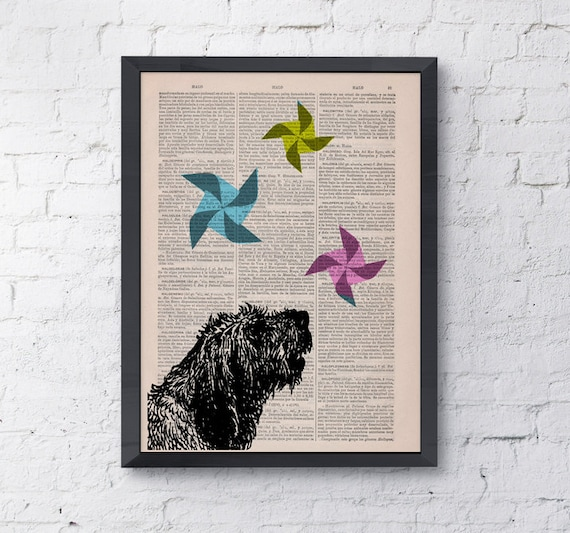 Funny pet, Origami Dog with windwheels, Wall art, Wall decor,   Vintage Book sheet, Nursery art, Prints ANI135