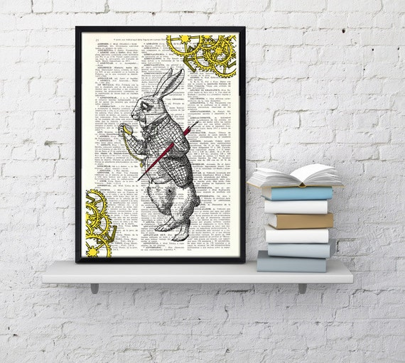 Alice in Wonderland White Rabbit clock issue collage Nursery decor wall art Print on Vintage Dictionary Book ALW031