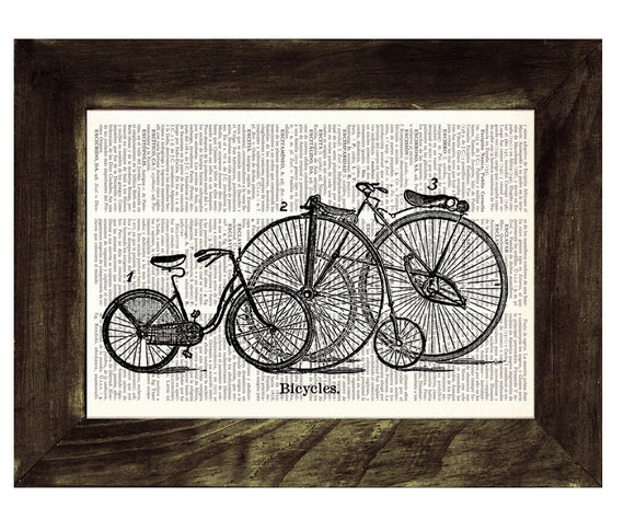 Christmas gifts for her Vintage Book Print Dictionary or Encyclopedia Page Print Book print Old bikes Print TVH07