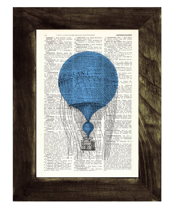 "Dictionary art Hot air balloon "" Le Grant"", Wall art, Wall decor, Home decor, Digital prints, Prints,  TVH136"