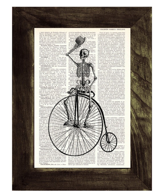 Dictionary print  Antique Bicycle riding Skeleton Print on Vintage Book page SKA014
