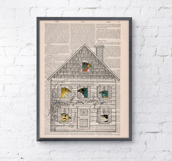 Christmas gifts for her Bird House, Wall art, Wall decor,   Vintage Book sheet, Nursery wall art, Prints, Bird prints, ANI190