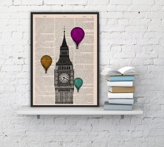 London Big Ben Tower  Multiple colored Balloon Ride Print on Vintage Book art vintage book page  TVH015