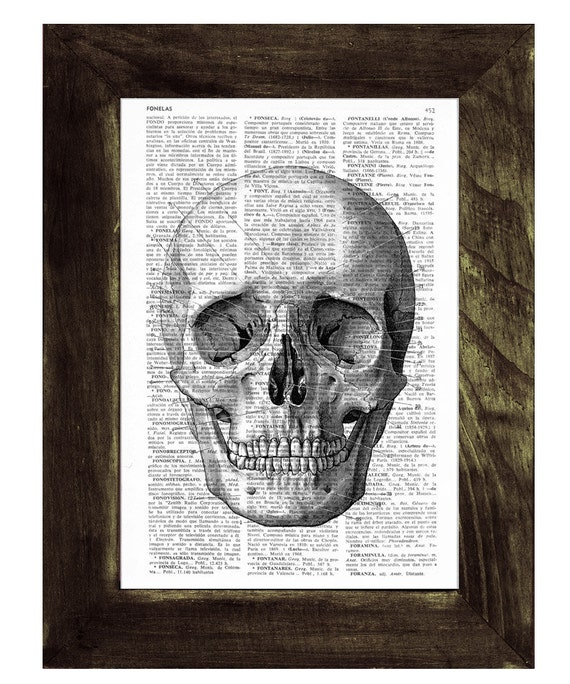Christmas gifts for her Skull print on a sheet from dictionary-simple skull book print SKA011