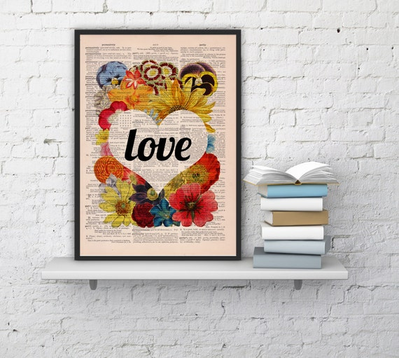 Christmas gifts for mom Love flowers Girl Room Deco Love Poster Unique 1st First ANNIVERSARY, Gift girlfriend Flower Dictionary art BFL097