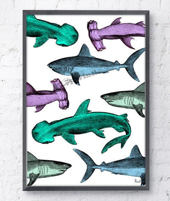 Sharks meeting Sea life art poster SEA213WA4
