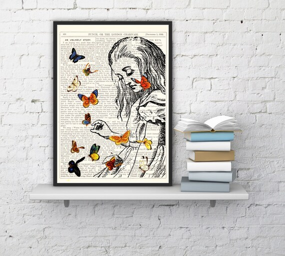 Decorative art_ Alice in Wonderland Playing with butterflies, Wall hanging on Vintage Dictionary Book ALW044