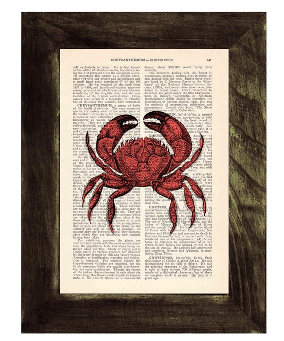 Book print Crab Print on Vintage Dictionary Book SEA021