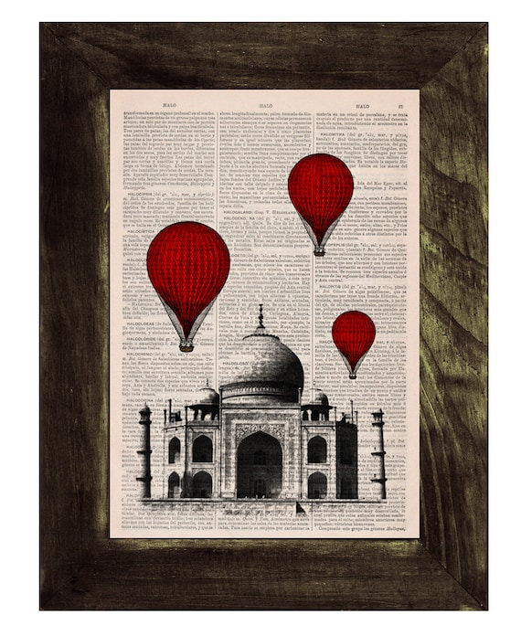 Christmas gifts for her Vintage Book Print -  Taj Mahal Balloon Ride Print on Vintage Book art TVH044