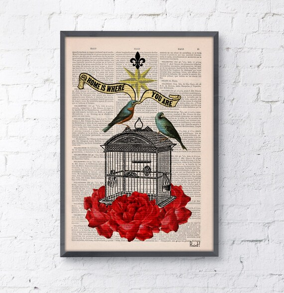 Blue birds cage with roses Upcycled Book Print the best choice for gifts   ANI189b