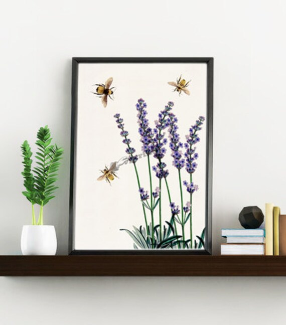 Wall art, Wall decor, Home decor, Bees with Lavender flowers art print, Digital prints, Gift for mom, Poster, Giclée art,   BFL117WA4