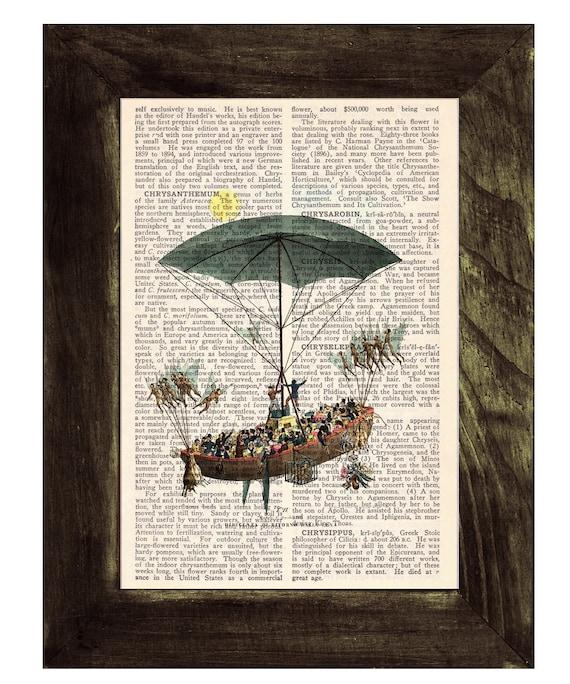Vintage Book Print Encyclopedia Page Print- Book print Balloon Print on Vintage Encyclopedic Dictionary  Book art TVH125