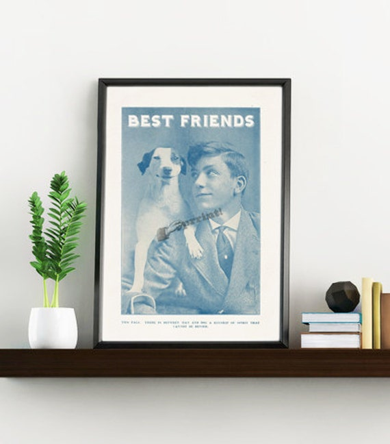 Best freinds, Dog and boy vintage image, Dog Print , Gift, Wall art, Wall decor, Digital prints, Nursery art, Poster ANI130WA4