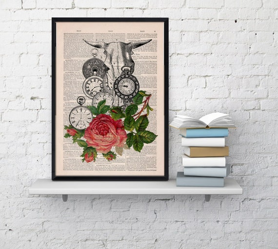 Bull skull and  Clocks With Roses print on Old Dictionary Book page SKA077