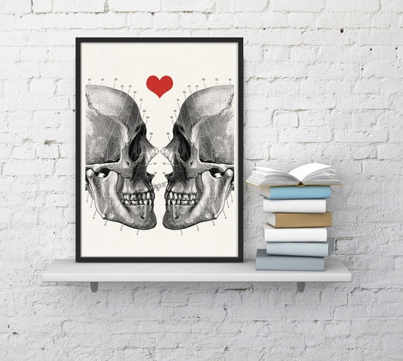 Skulls in love Anatomical Wall art decor SKA001WA4
