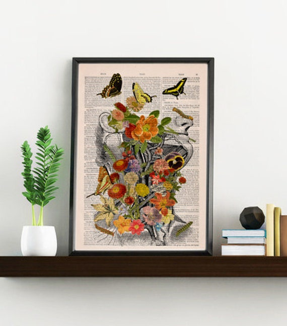Flowery head with butterflies collage Printed on Vintage Dictionary Book page great for Christmas gifts SKA087b