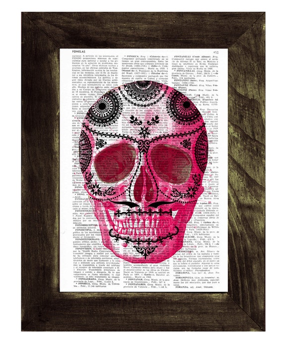 Day of the dead-Hot Pink Mexican Skull Dia de los muertos skull- Book Print Vintage Art Print Simple Skull SKA018