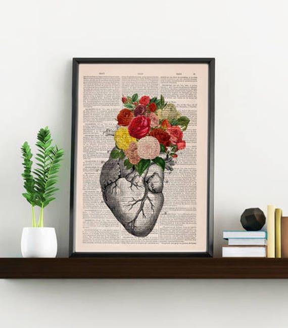 Springtime Heart Decorative Art, Flowers on Skull ,Nature Inspired Print  Wall hanging Skull print, Art flowers  SKA135