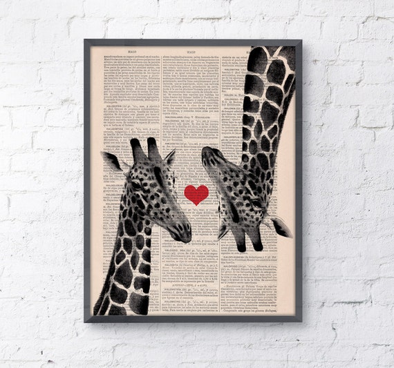 Giraffes in love Red heart on Vintage book page perfect for Christmas gifts ANI012b