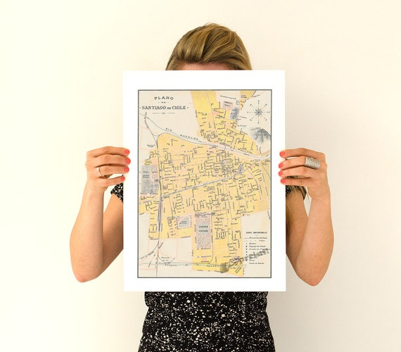 Santiago de Chile old city map, Vintage map poster, Old City poster, Wall art, Wall decor Vintage map TVH235WA3