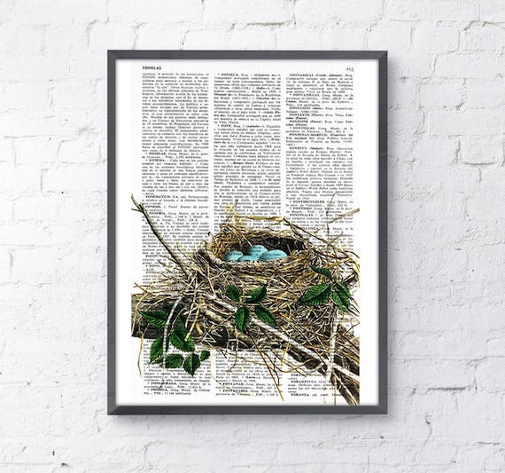 Robin bird nest print on Vintage Book page perfect for gifts  ANI046b
