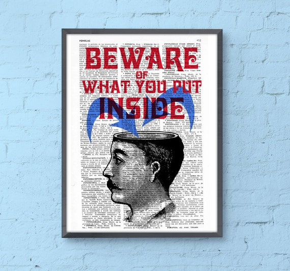Victorian man BEWARE wall print on Dictionary book page the best choice for Christmas gifts TYQ052