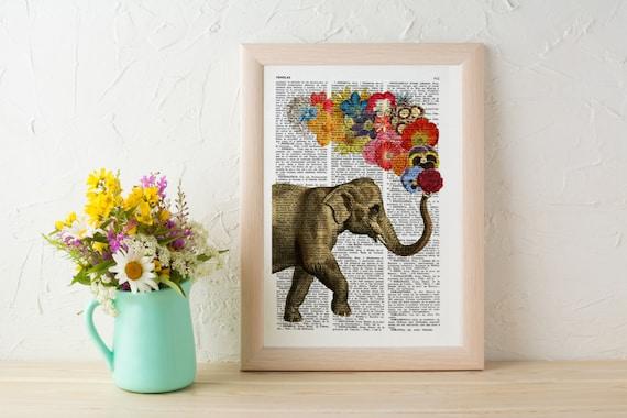 Elephant with Flowers -wall art Wall decor art prints  - Elephant decor - Print vintage dictionary book page ANI091b