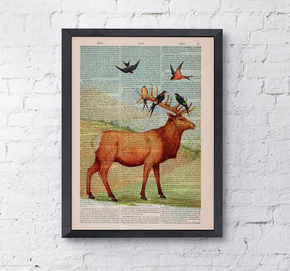 Deer with birds, Wall art, Wall decor, Digital prints animal, Giclée, Vintage Book sheet, Nursery wall art, Prints, Wholesale ,ANI044