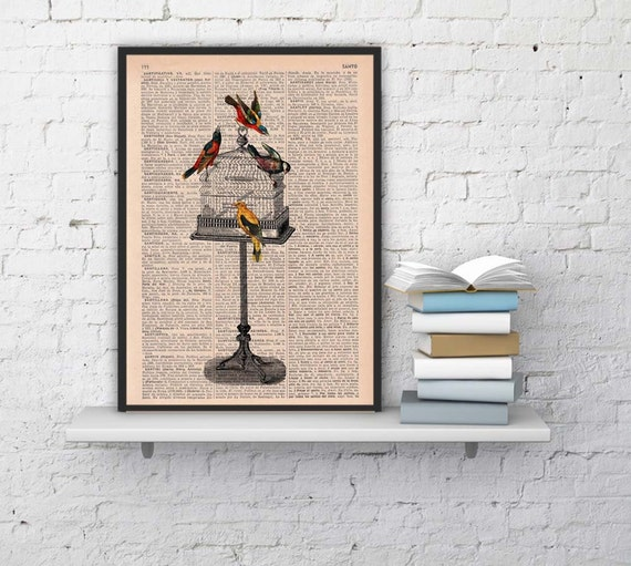 Vintage Cage free birds printed on Vintage Book page -altered art printed on  dictionary page ANI187