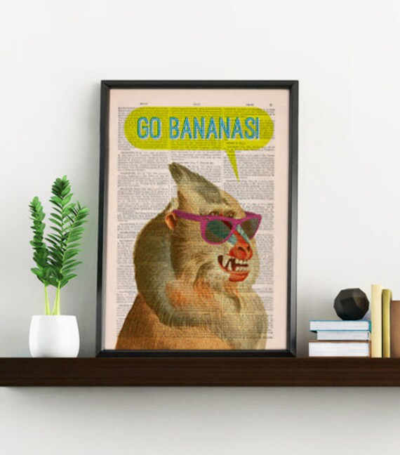 Crazy Mandrill Go Bananas Art Print perfect as gifts for him ANI208b