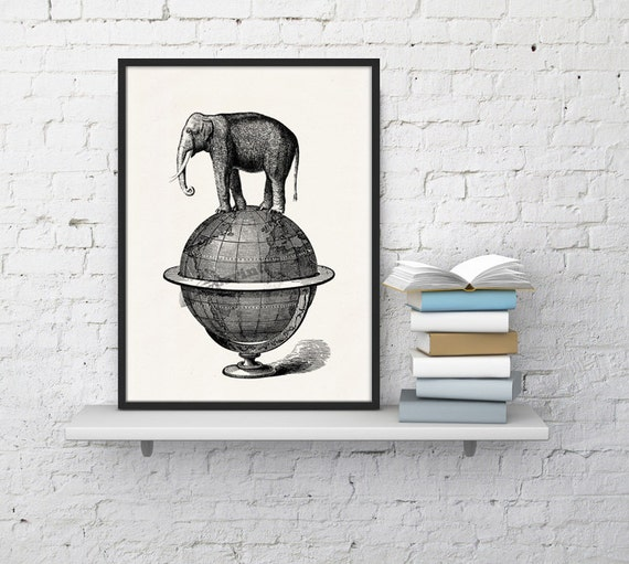 Christmas gifts for mom Elephant goes for a walk. White paper elephant print - Elephant over world collage ANI093WA4