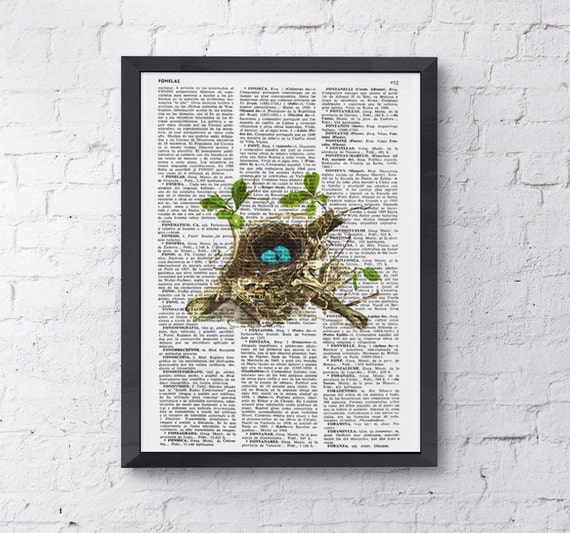 Robin Bird nest, Wall art, Wall decor,   Vintage Book sheet, Nursery wall art, Prints, Wholesale  ANI052