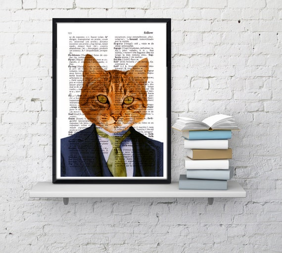 Christmas gifts for her Business cat, Wall art, Wall decor,   Vintage Book sheet, Nursery wall art, Prints, Funny art,  ANI066