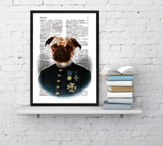 Christmas gifts for her Colonel Pug, Wall art, Wall decor,   Vintage Book sheet, Nursery wall art, Prints, Gift for him, Gift,  ANI131