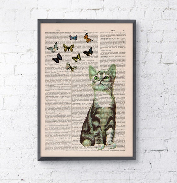 Little cat and butterflies collage Print on Vintage Book page Funny Nursery wall art, funny animal prints ANI062
