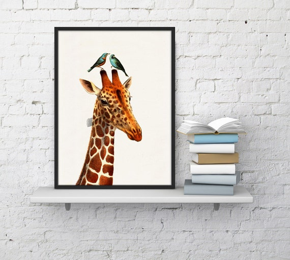 Honeymoon Giraffe collage Print- Love birds art- Love wall art- Wedding gift art Nursery Art and collectibles  ANI006WA4