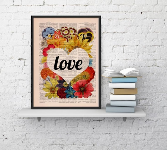Book print art Love Flower Wall collage  Upcycled book page Art Dictionary book print BPBB097b
