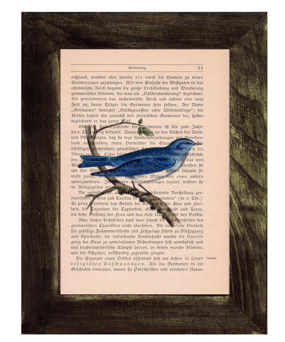 Blue Bird, Wall art, Wall decor,   Vintage Book sheet, Nursery wall art, Prints, Bird prints ANI191