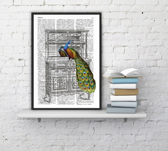 Peacock on Sideboard, Wall art, Wall decor,   Vintage Book sheet, Nursery wall art, Prints, ANI152