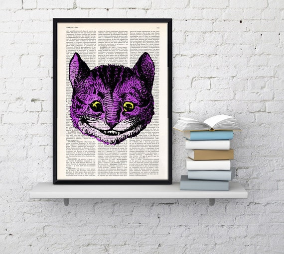 Alice in wonderland Cheshire cat head book print Alice in Wonderland Collage Print ALW040