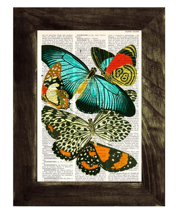 Butterflies collage Dictionary Book Print - Altered art on upcycled book pages BFL031