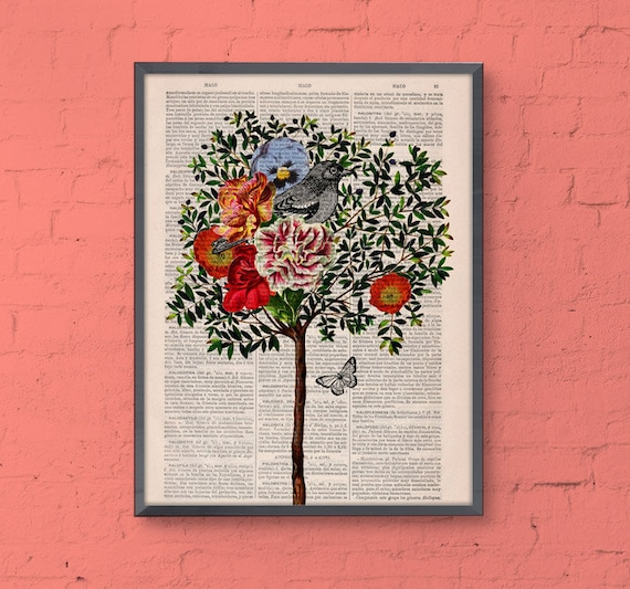 Christmas gifts for her Tree with Bird, Wall art, Wall decor,   Vintage Book sheet, Nursery wall art, Prints, Birds prints, ANI220
