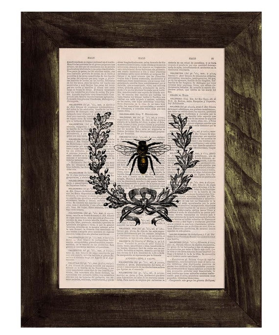 Christmas gifts Laurel wreath queen Bee Print on Dictionary Book - Butterfly Art on Upcycled Dictionary Book Wall Art Home Decor BFL118