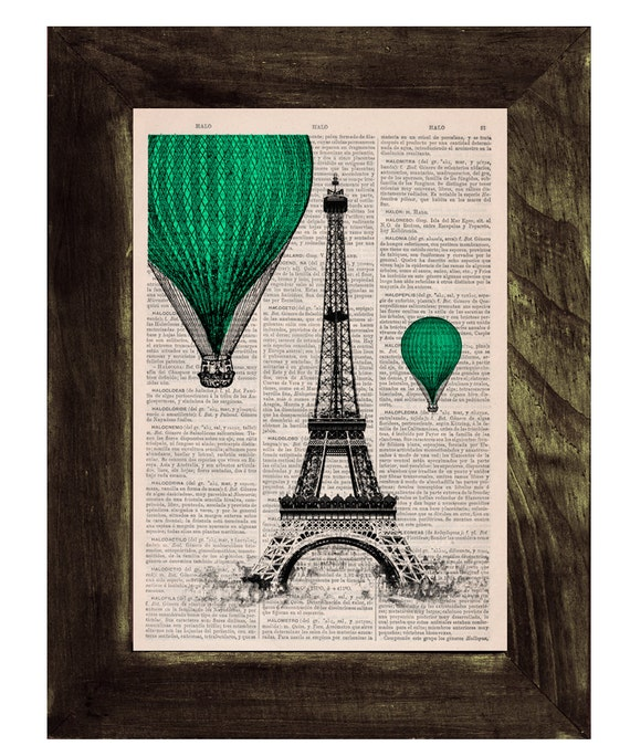 Christmas gifts for her Eiffel Tower emerald green Balloons Ride Print on Vintage Book, France art, Wall art, Wall decor, TVH029