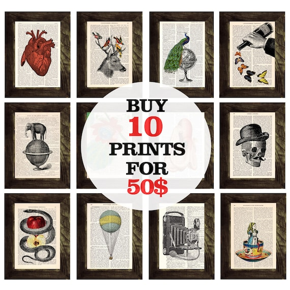 Book prints SPECIAL SALE select any 10 book prints for ONLY fifty dollars Prints on Vintage Encyclopedic  SET013