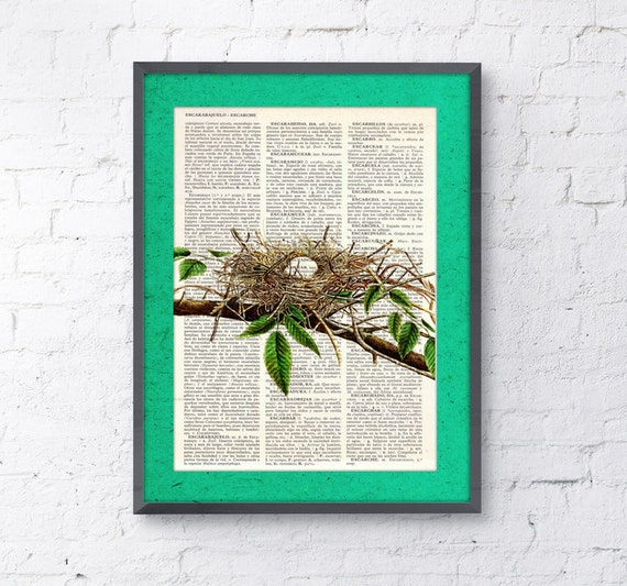 Cute Bird nest, Wall art, Wall decor,   Vintage Book sheet, Nursery wall art, Prints   ANI050