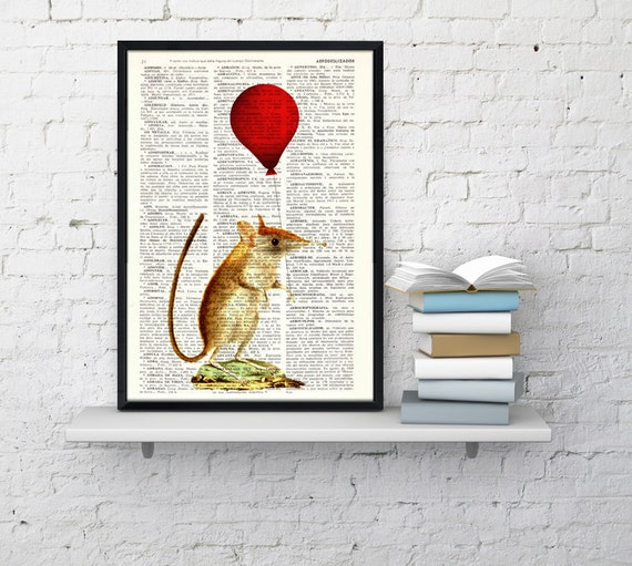Mouse with red balloon, Wall art, Wall decor,   Vintage Book sheet, Nursery wall art, Prints, Wholesale ANI230