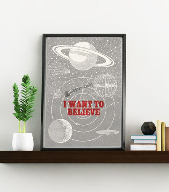 Christmas gifts for mom I want to believe Space, Wall art decor, Home decor,UFO Illustration, Wall Hanging, UFO Geek TVH104WA4