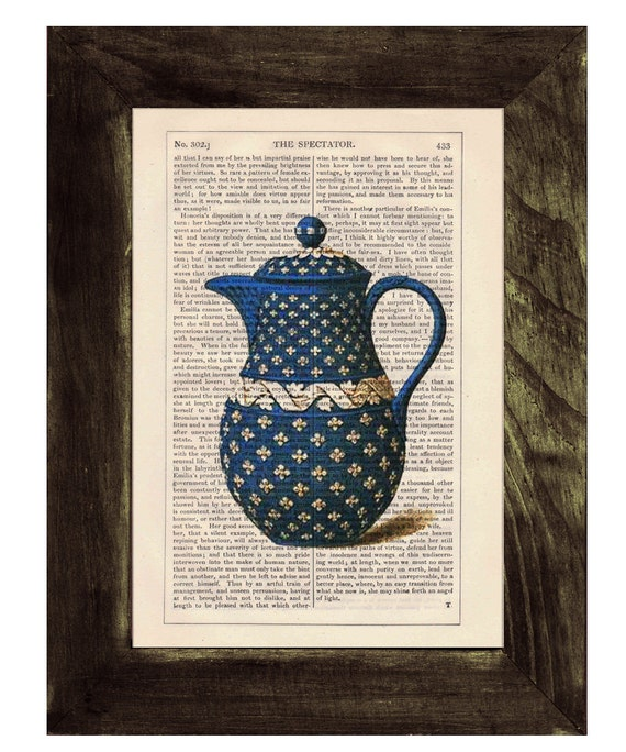 Vintage Blue Tea pot printed on dictionary book page- Upcycled art TVH075